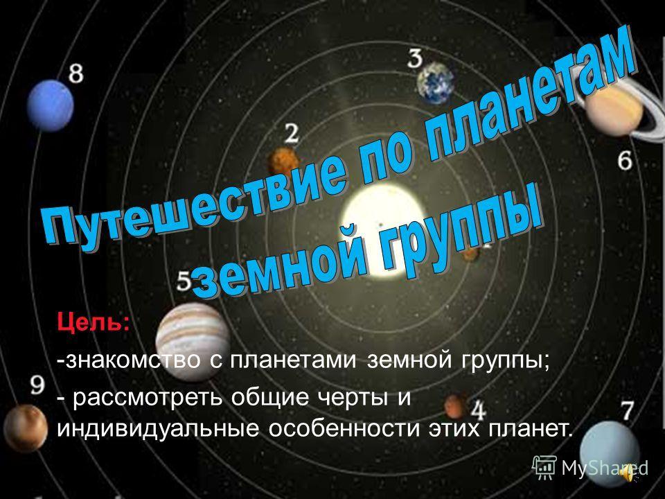 Цель: -знакомство с планетами земной группы; - рассмотреть общие черты и индивидуальные особенности этих планет.