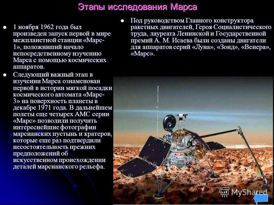 Этапы исследования Марса 1 ноября 1962 года был произведен запуск первой в мире межпланетной станции «Марс- 1», положивший начало непосредственному изучению Марса с помощью космических аппаратов. 1 ноября 1962 года был произведен запуск первой в мире