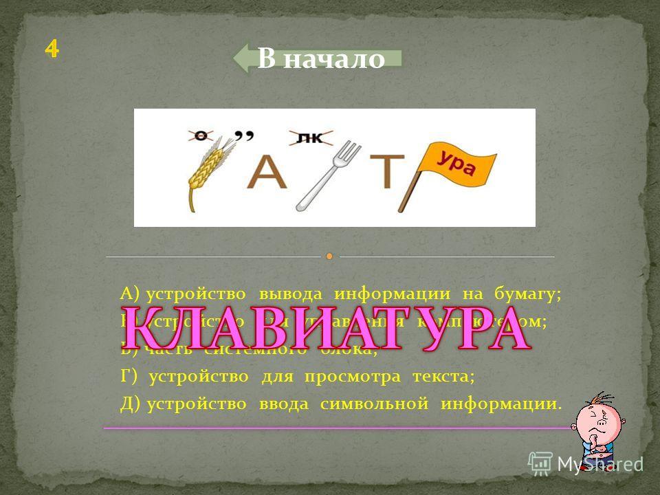 А) устройство для ввода рисунков и фотографий; Б) устройство для обработки информациии; В) устройство для прослушивания звука; Г) устройство визуального отображения информациии; Д) устройство для ввода звука. В начало