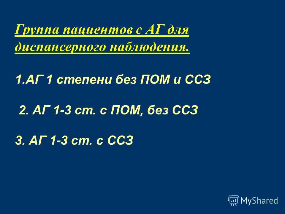 Группа пациентов с АГ для диспансерного наблюдения. 1. АГ 1 степени без ПОМ и ССЗ 2. АГ 1-3 ст. с ПОМ, без ССЗ 3. АГ 1-3 ст. с ССЗ