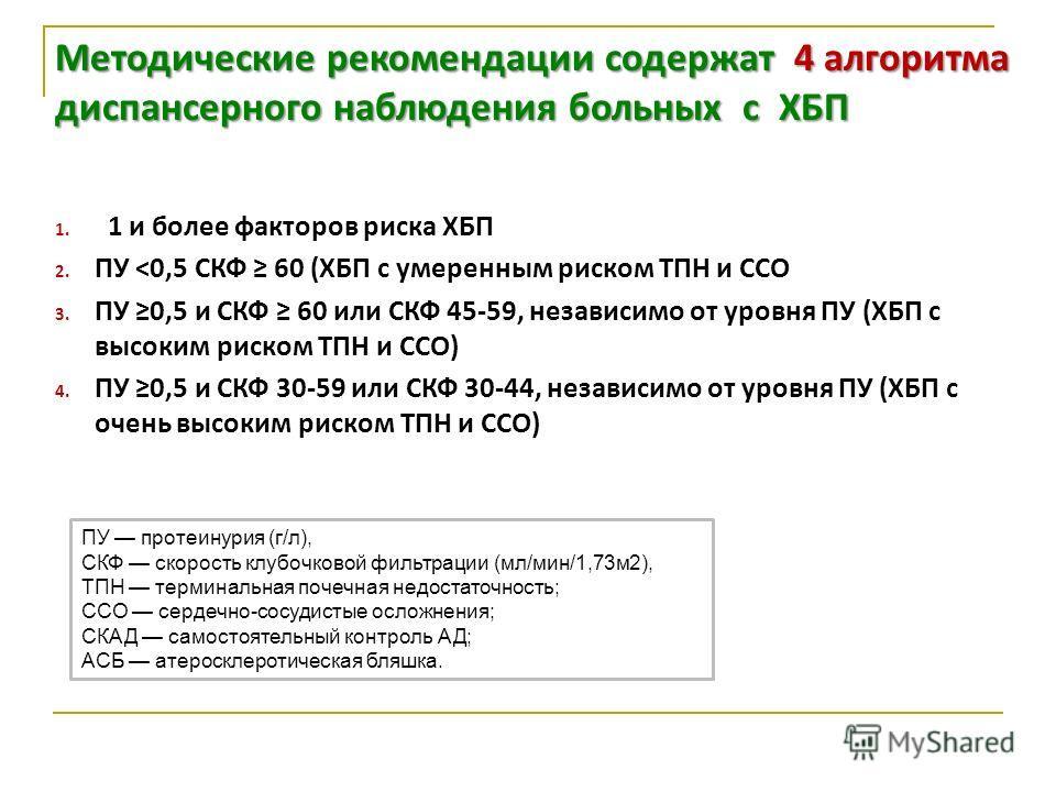 1. 1 и более факторов риска ХБП 2. ПУ