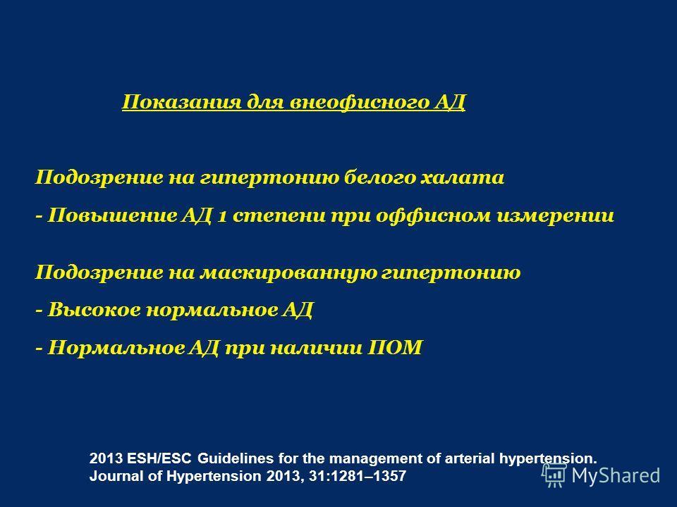 Показания для внеофисного АД Подозрение на гипертонию белого халата - Повышение АД 1 степени при офисном измерении Подозрение на маскированную гипертонию - Высокое нормальное АД - Нормальное АД при наличии ПОМ 2013 ESH/ESC Guidelines for the manageme