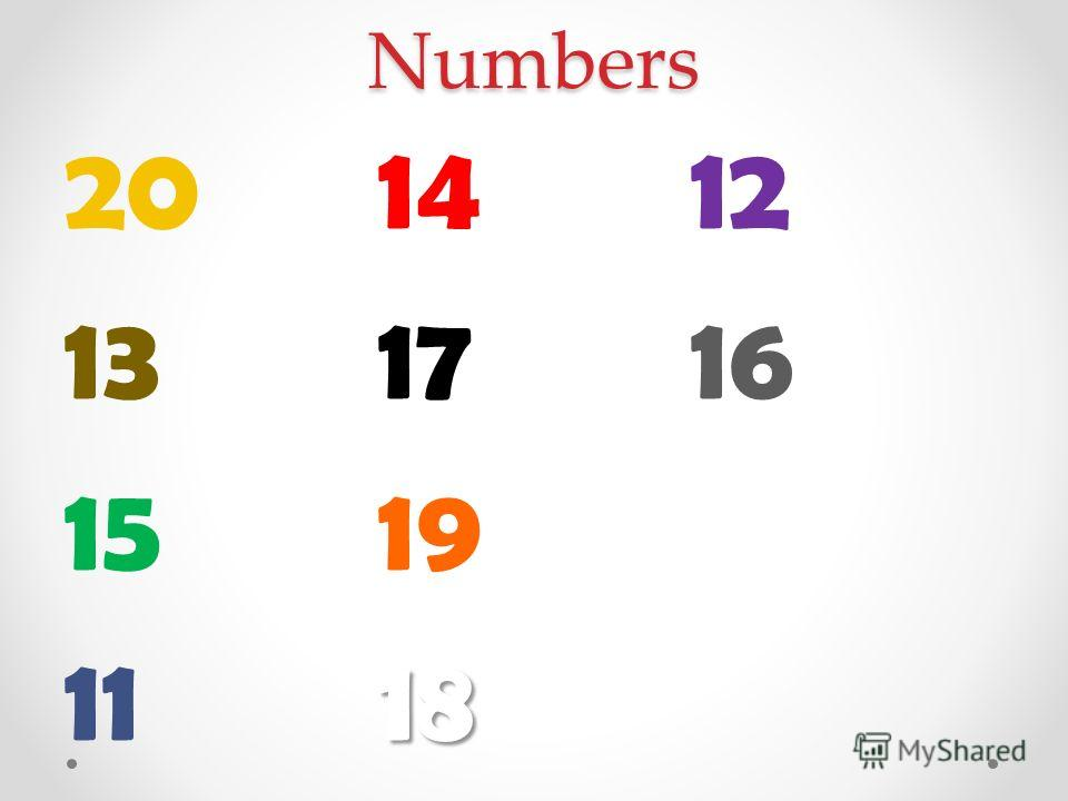 Numbers 20 13 15 11 14 17 1918 12 16