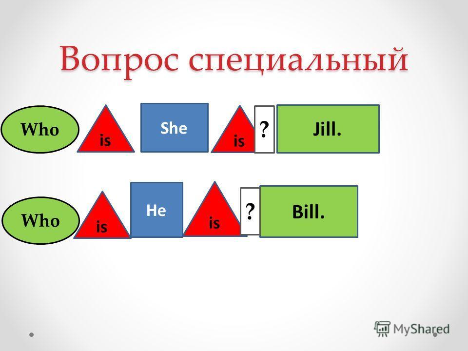 Вопрос специальный She He is Jill. Bill. is ? ? Who