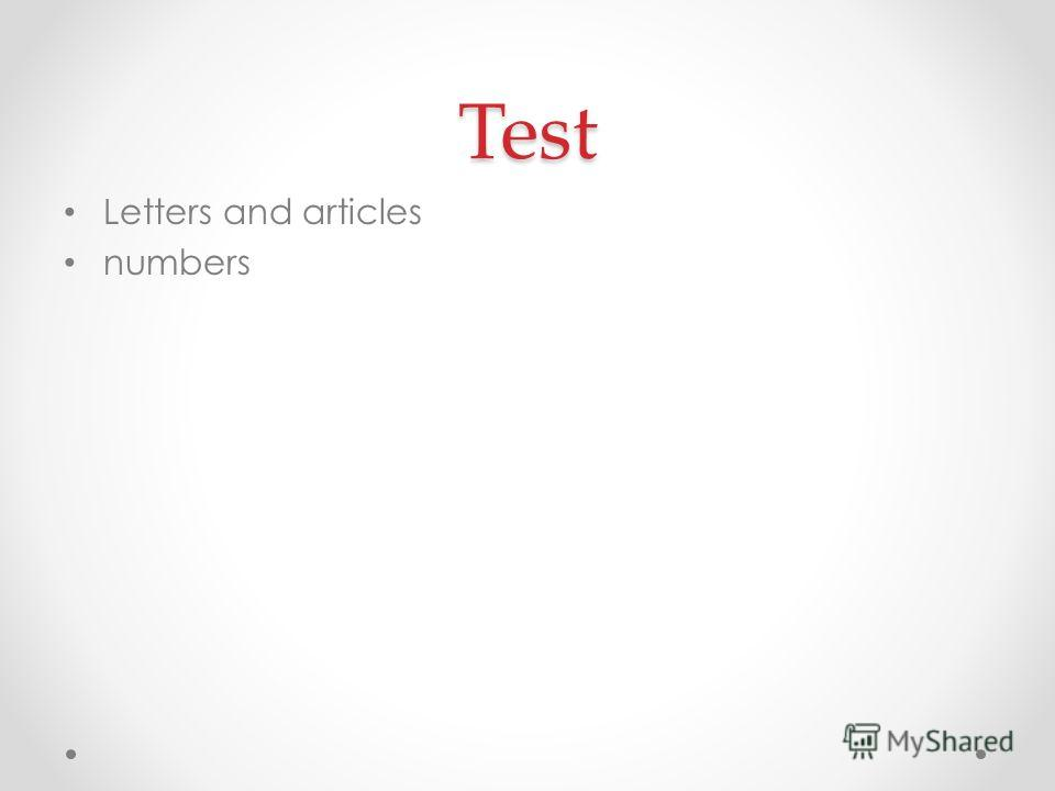 Test Letters and articles numbers