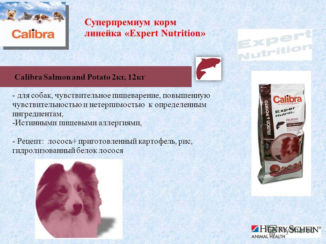 Суперпремиум корм линейка «Expert Nutrition» Calibra Salmon and Potato 2 кг, 12 кг - для собак, чувствительное пищеварение, повышенную чувствительностью и нетерпимостью к определенным ингредиентам, -Истинными пищевыми аллергиями, - Рецепт: лосось+ пр