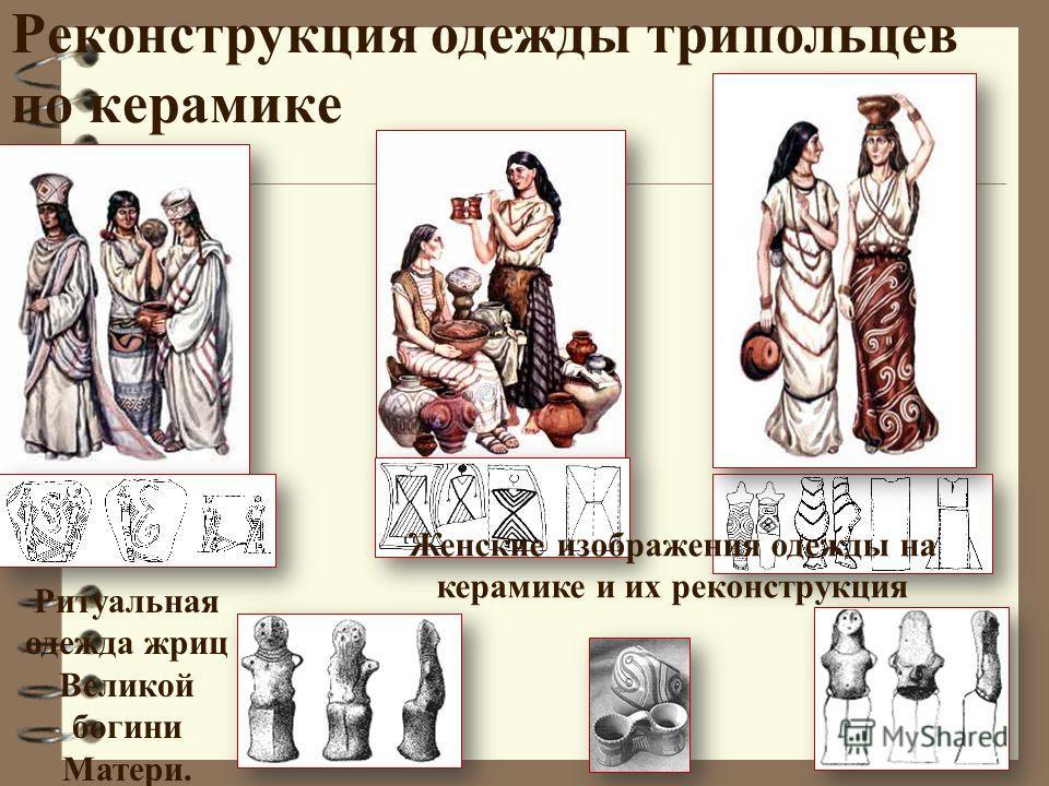 Реконструкция одежды трипольцев по керамике Ритуальная одежда жриц Великой богини Матери. Женские изображения одежды на керамике и их реконструкция