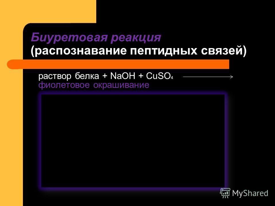 раствор белка + NaOH + CuSO 4 фиолетовое окрашивание Биуретовая реакция (распознавание пептидных связей)