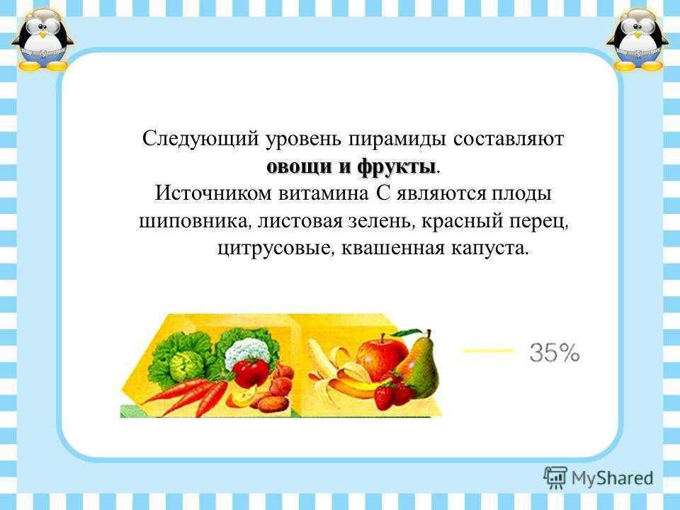 овощи и фрукты Следующий уровень пирамиды составляют овощи и фрукты. Источником витамина С являются плоды шиповника, листовая зелень, красный перец, цитрусовые, квашенная капуста.