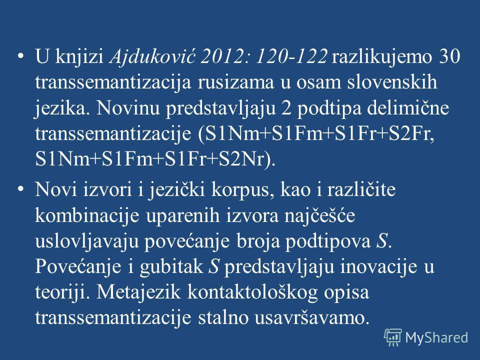 U knjizi Ajduković 2012: 120-122 razlikujemo 30 transsemantizacija rusizama u osam slovenskih jezika. Novinu predstavljaju 2 podtipa delimične transsemantizacije (S1Nm+S1Fm+S1Fr+S2Fr, S1Nm+S1Fm+S1Fr+S2Nr). Novi izvori i jezički korpus, kao i različit