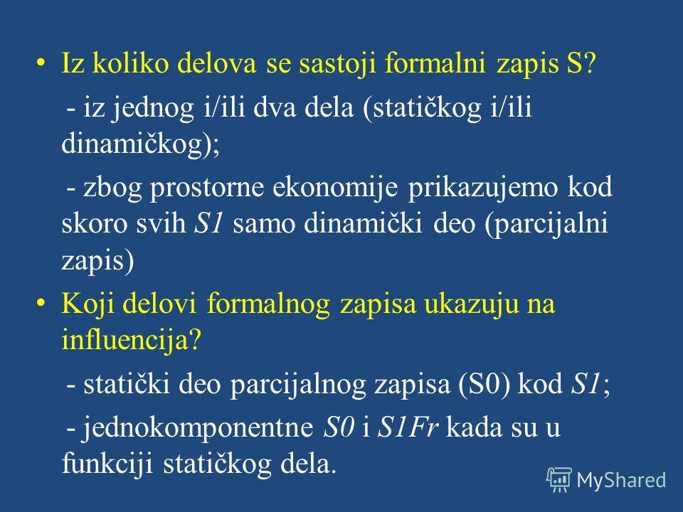 Iz koliko delova se sastoji formalni zapis S? - iz jednog i/ili dva dela (statičkog i/ili dinamičkog); - zbog prostorne ekonomije prikazujemo kod skoro svih S1 samo dinamički deo (parcijalni zapis) Koji delovi formalnog zapisa ukazuju na influencija?
