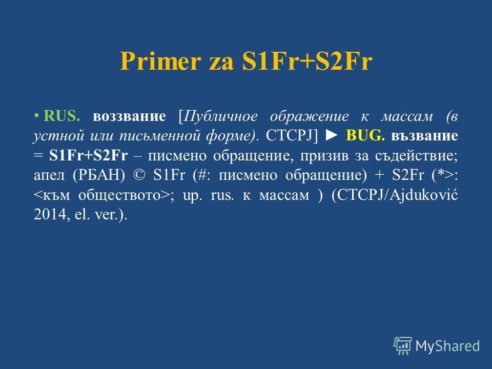 Primer za S1Fr+S2Fr RUS. воззвание [Публичное ображение к массам (в устной или письменной форме). СТСРЈ] BUG. възвание = S1Fr+S2Fr – писмено обращение, призив за съдействие; апел (РБАН) © S1Fr (#: писмено обращение) + S2Fr (*>: ; up. rus. к массам )