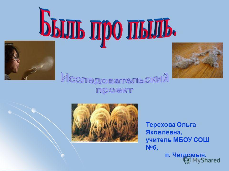 Терехова Ольга Яковлевна, учитель МБОУ СОШ 6, п. Чегдомын.
