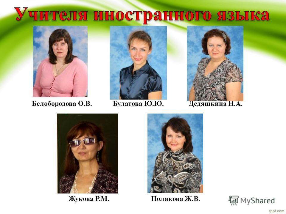 Белобородова О.В.Булатова Ю.Ю.Дедяшкина Н.А. Жукова Р.М.Полякова Ж.В.