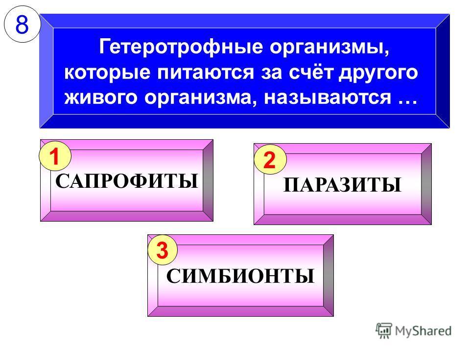 Гетеротрофные организмы, которые питаются за счёт другого живого организма, называются … САПРОФИТЫ 1 ПАРАЗИТЫ 2 СИМБИОНТЫ 3 8