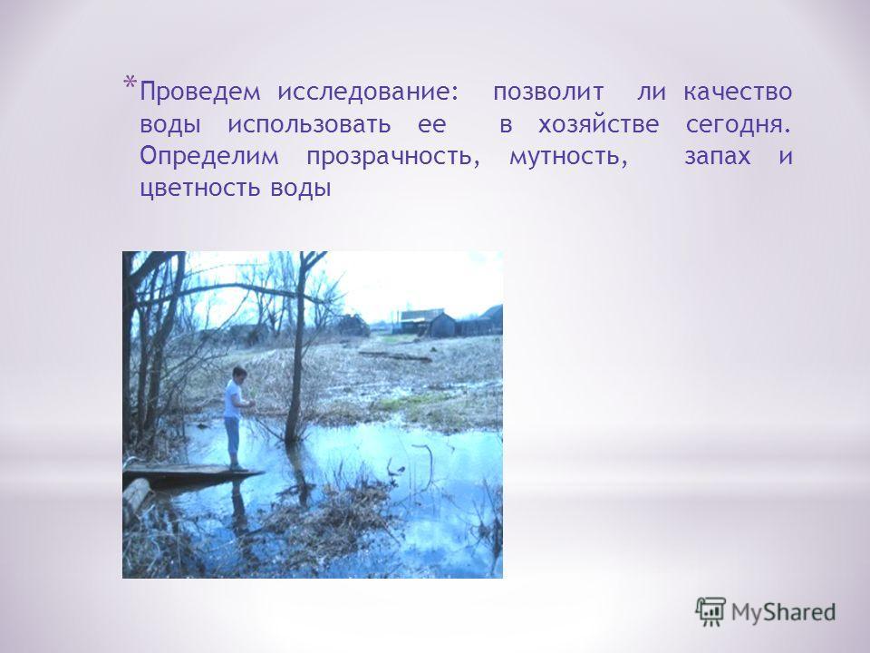 * Проведем исследование: позволит ли качество воды использовать ее в хозяйстве сегодня. Определим прозрачность, мутность, запах и цветность воды