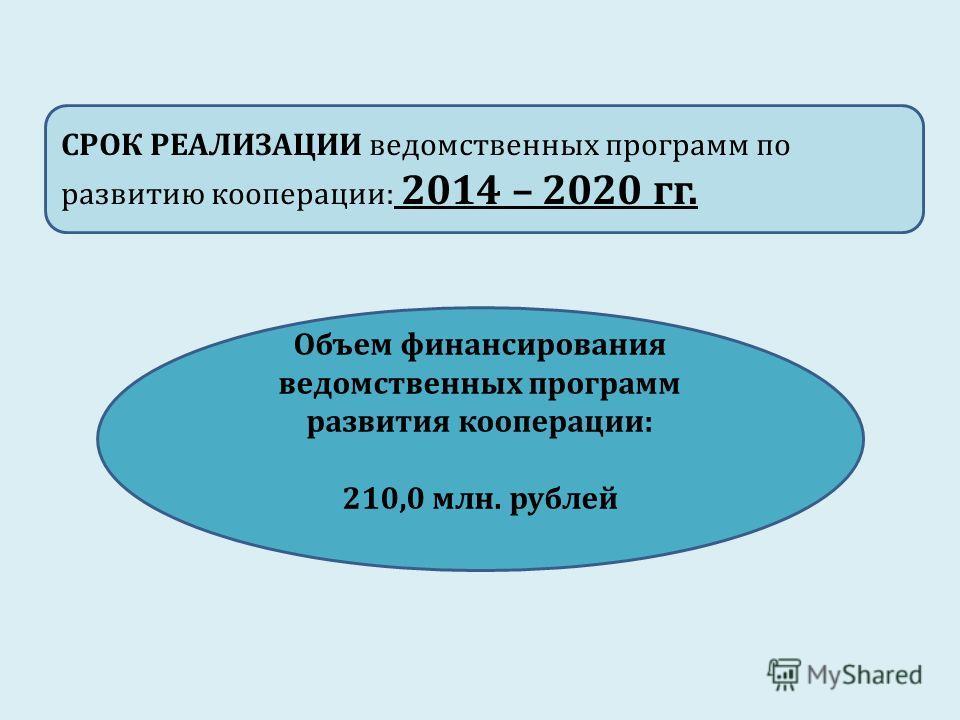 СРОК РЕАЛИЗАЦИИ ведомственных программ по развитию кооперации: 2014 – 2020 гг. Объем финансирования ведомственных программ развития кооперации: 210,0 млн. рублей