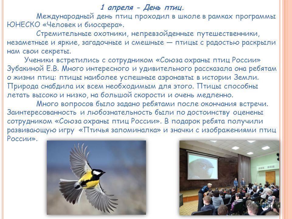 1 апреля - День птиц. Международный день птиц проходил в школе в рамках программы ЮНЕСКО «Человек и биосфера». Стремительные охотники, непревзойденные путешественники, незаметные и яркие, загадочные и смешные птицы с радостью раскрыли нам свои секрет