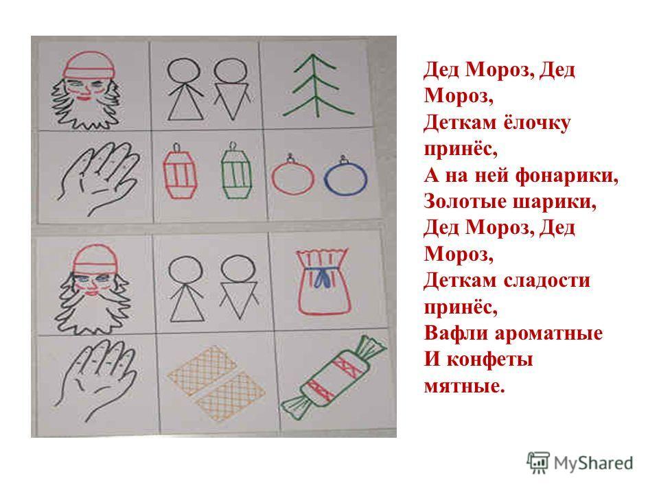 Дед Мороз, Дед Мороз, Деткам ёлочку принёс, А на ней фонарики, Золотые шарики, Дед Мороз, Дед Мороз, Деткам сладости принёс, Вафли ароматные И конфеты мятные.