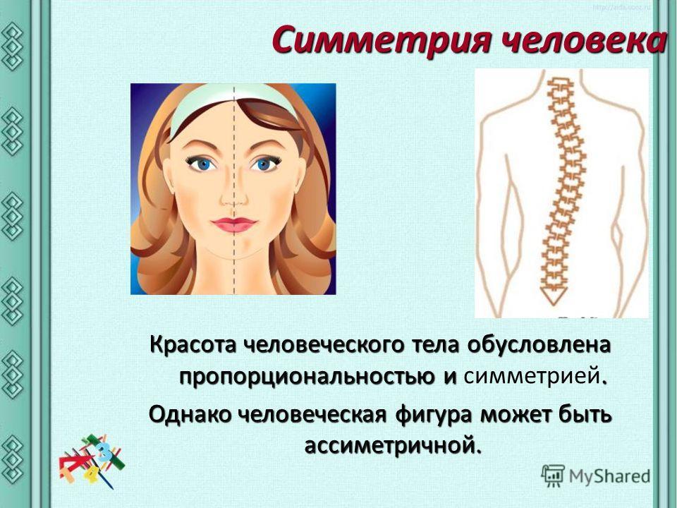 Симметрия человека Красота человеческого тела обусловлена пропорциональностью и. Красота человеческого тела обусловлена пропорциональностью и симметрией. Однако человеческая фигура может быть ассиметричной.