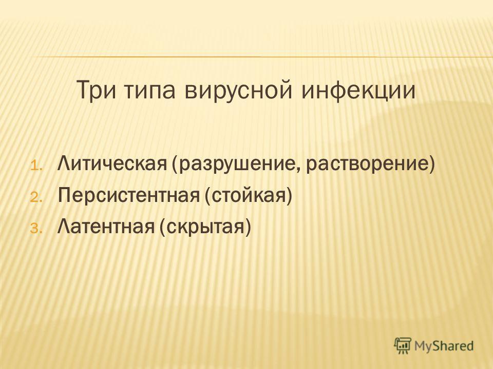 Три типа вирусной инфекции 1. Литическая (разрушение, растворение) 2. Персистентная (стойкая) 3. Латентная (скрытая)