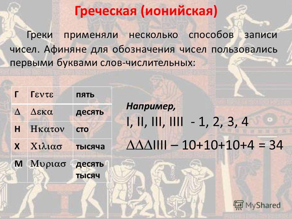 Греки применяли несколько способов записи чисел. Афиняне для обозначения чисел пользовались первыми буквами слов-числительных: Греческая (ионийская) Например, I, II, III, IIII - 1, 2, 3, 4 IIII – 10+10+10+4 = 34 Г Г пять десять Н сто X тысяча М десят