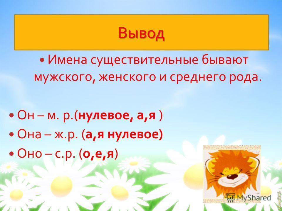 Вывод Имена существительные бывают мужского, женского и среднего рода. Он – м. р.( нулевое, а, я ) Она – ж. р. ( а, я нулевое ) Оно – с. р. ( о, е, я )