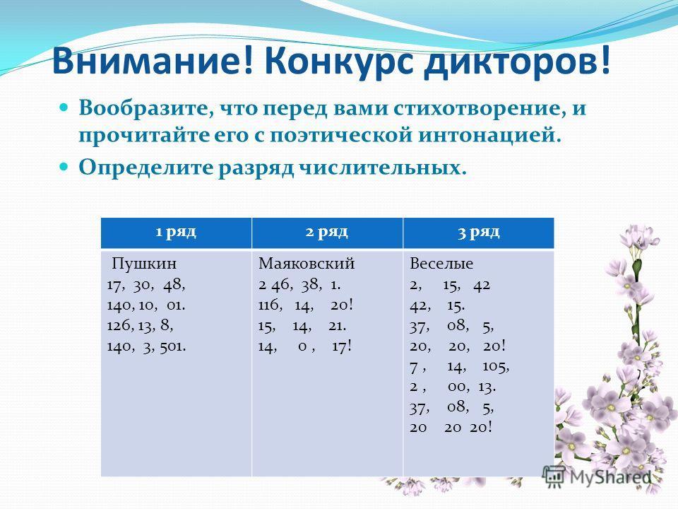 Внимание! Конкурс дикторов! Вообразите, что перед вами стихотворение, и прочитайте его с поэтической интонацией. Определите разряд числительных. 1 ряд 2 ряд 3 ряд Пушкин 17, 30, 48, 140, 10, 01. 126, 13, 8, 140, 3, 501. Маяковский 2 46, 38, 1. 116, 1