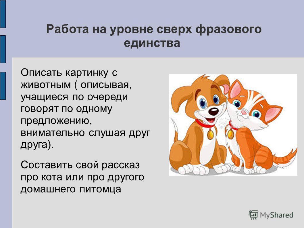 Работа на уровне сверх фразового единства Описать картинку с животным ( описывая, учащиеся по очереди говорят по одному предложению, внимательно слушая друг друга). Составить свой рассказ про кота или про другого домашнего питомца