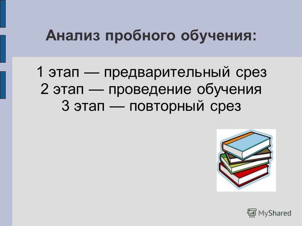 Анализ пробного обучения: 1 этап предварительный срез 2 этап проведение обучения 3 этап повторный срез