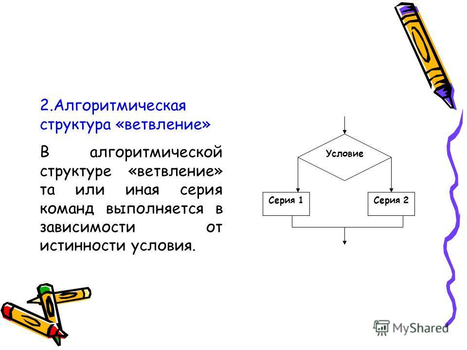 2. Алгоритмическая структура «ветвление» В алгоритмической структуре «ветвление» та или иная серия команд выполняется в зависимости от истинности условия. Условие Серия 1Серия 2