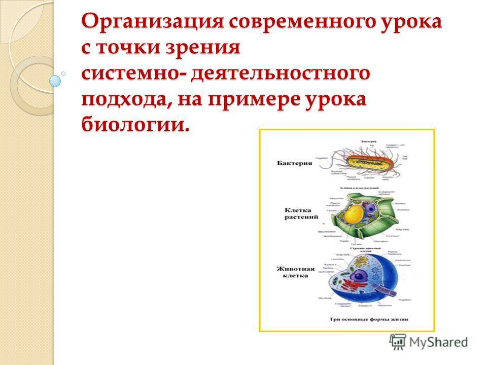 Организация современного урока с точки зрения системно- деятельностного подхода, на примере урока биологии.
