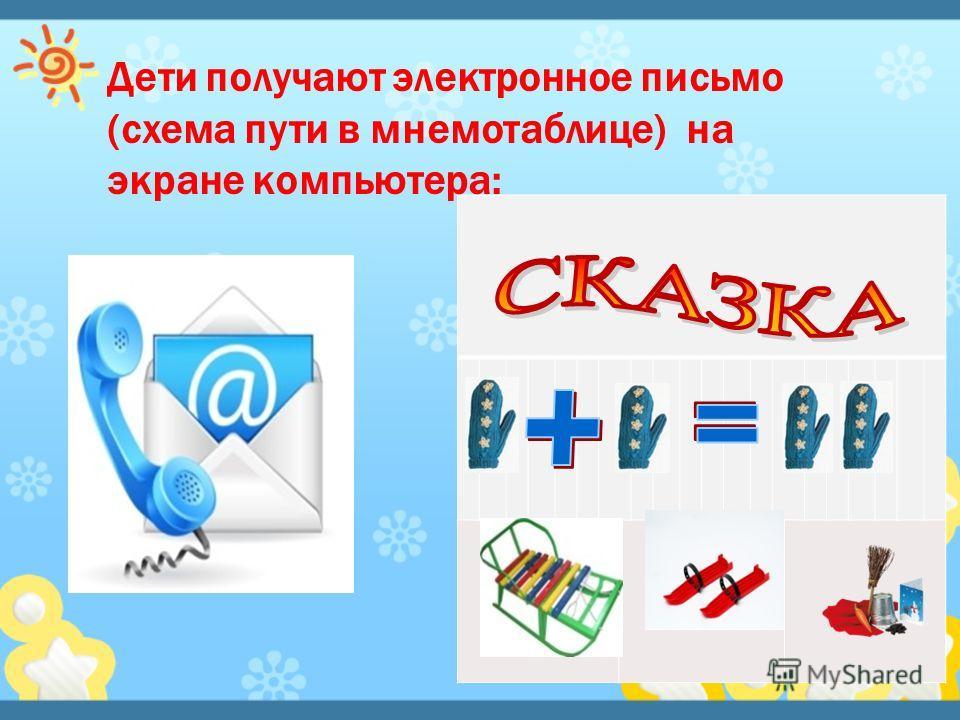 Дети получают электронное письмо (схема пути в мнемотаблице) на экране компьютера: