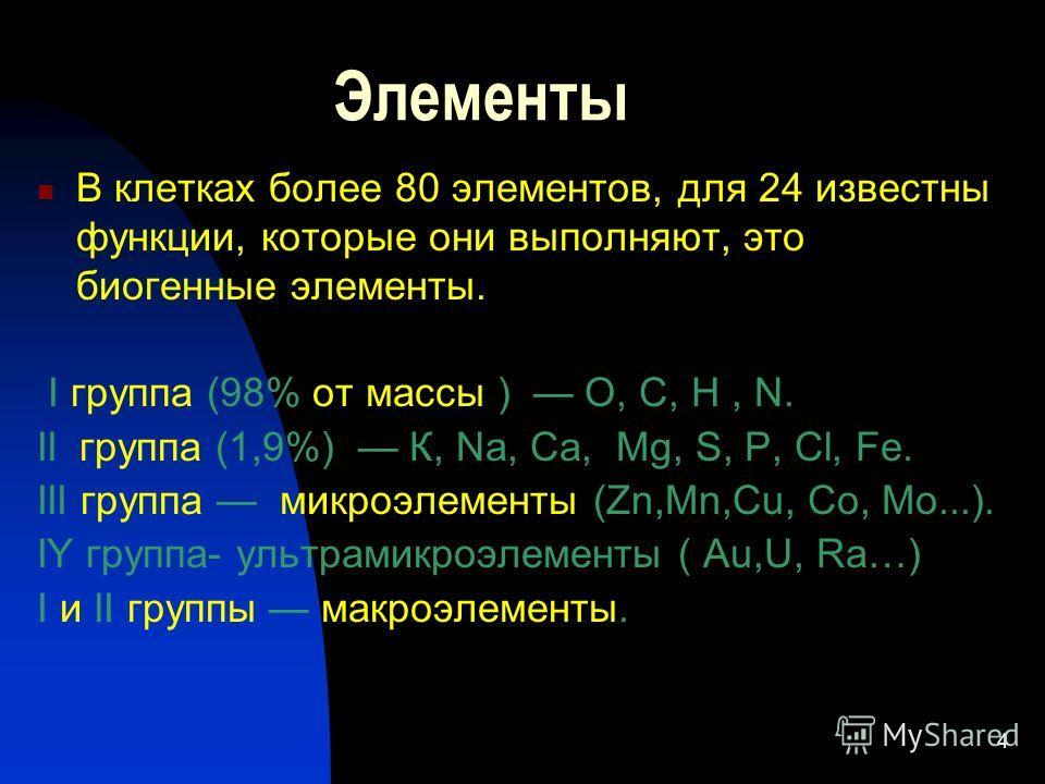 4 Элементы В клетках более 80 элементов, для 24 известны функции, которые они выполняют, это биогенные элементы. I группа (98% от массы ) О, С, Н, N. II группа (1,9%) К, Na, Ca, Mg, S, P, Cl, Fe. III группа микроэлементы (Zn,Mn,Cu, Co, Mo...). IY гру