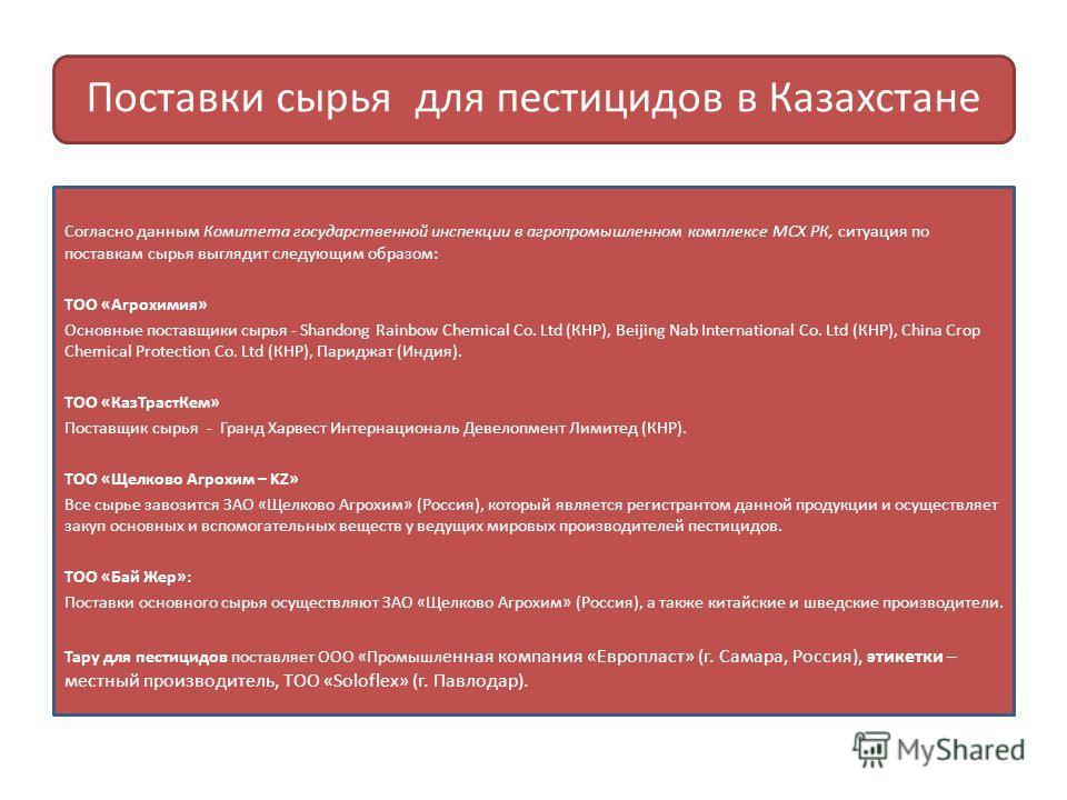 Поставки сырья для пестицидов в Казахстане Согласно данным Комитета государственной инспекции в агропромышленном комплексе МСХ РК, ситуация по поставкам сырья выглядит следующим образом: ТОО «Агрохимия» Основные поставщики сырья - Shandong Rainbow Ch