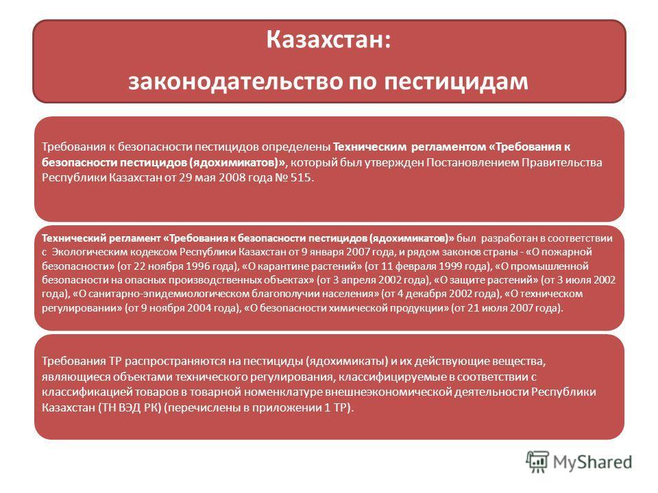 Казахстан: законодательство по пестицидам Требования к безопасности пестицидов определены Техническим регламентом «Требования к безопасности пестицидов (ядохимикатов)», который был утвержден Постановлением Правительства Республики Казахстан от 29 мая