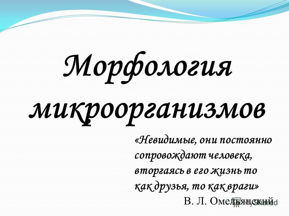 Морфология микроорганизмов «Невидимые, они постоянно сопровождают человека, вторгаясь в его жизнь то как друзья, то как враги» В. Л. Омельянский