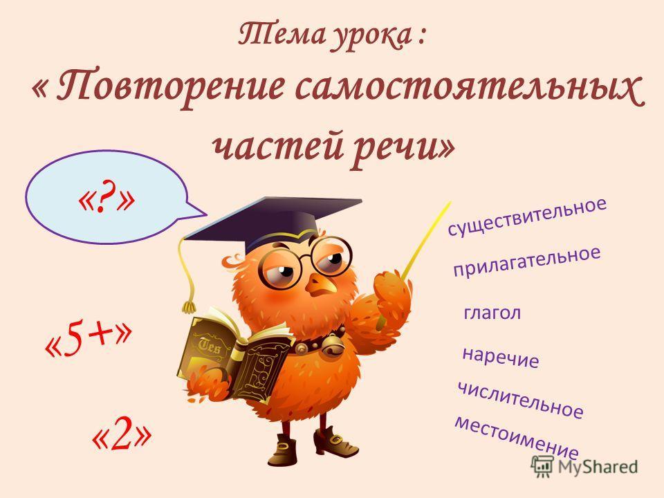 Тема урока : « Повторение самостоятельных частей речи» существительное прилагательное глагол наречие числительное местоимение «2» «5+» «?»