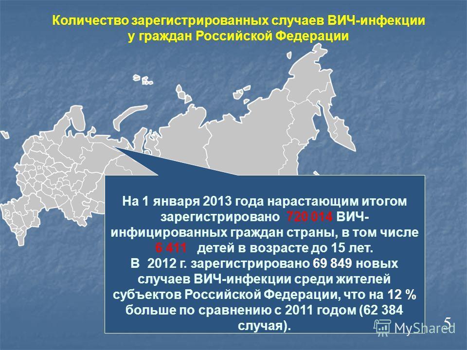 Количество зарегистрированных случаев ВИЧ-инфекции у граждан Российской Федерации На 1 января 2013 года нарастающим итогом зарегистрировано 720 014 ВИЧ- инфицированных граждан страны, в том числе 6 411 детей в возрасте до 15 лет. В 2012 г. зарегистри