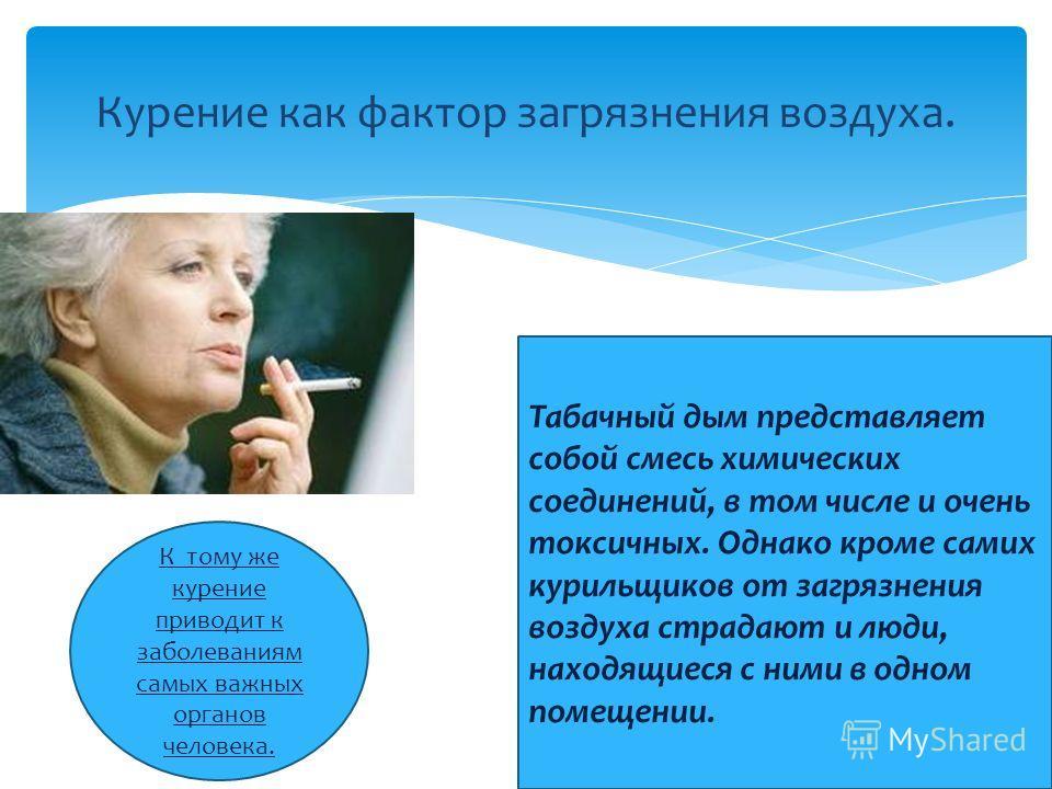 Курение как фактор загрязнения воздуха. К тому же курение приводит к заболеваниям самых важных органов человека. Табачный дым представляет собой смесь химических соединений, в том числе и очень токсичных. Однако кроме самих курильщиков от загрязнения