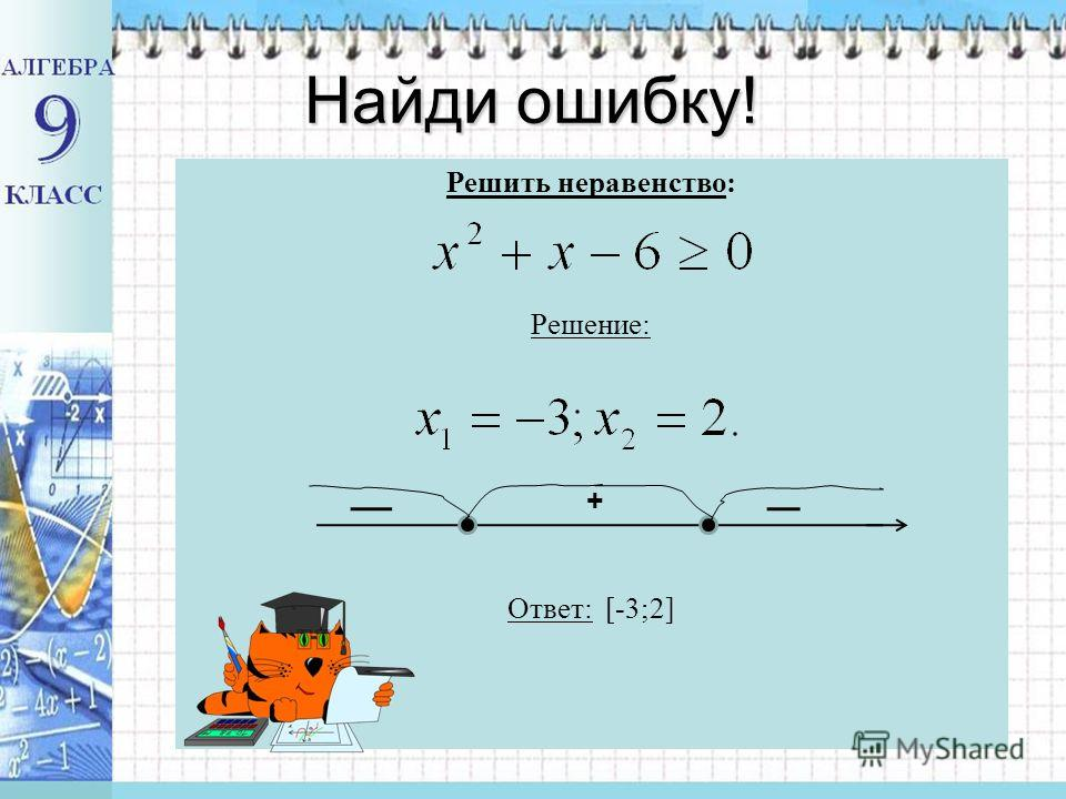Разложить многочлен на простые множители; найти корни многочлена; изобразить их на числовой прямой; разбить числовую прямую на интервалы; определить знаки множителей на интервалах знакопостоянства; выбрать промежутки нужного знака; записать ответ (с
