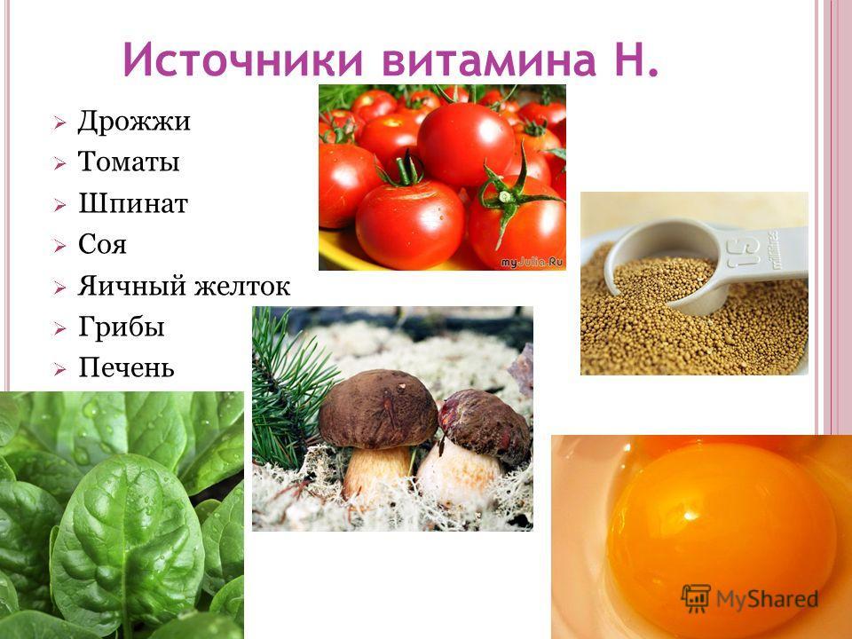 Источники витамина Н. Дрожжи Томаты Шпинат Соя Яичный желток Грибы Печень