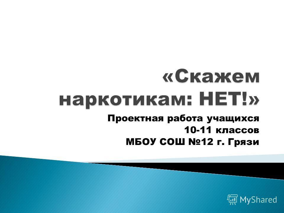 Проектная работа учащихся 10-11 классов МБОУ СОШ 12 г. Грязи