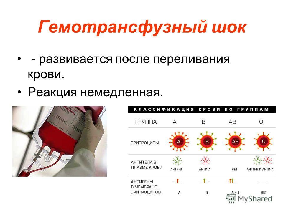 Гемотрансфузный шок - развивается после переливания крови. Реакция немедленная.
