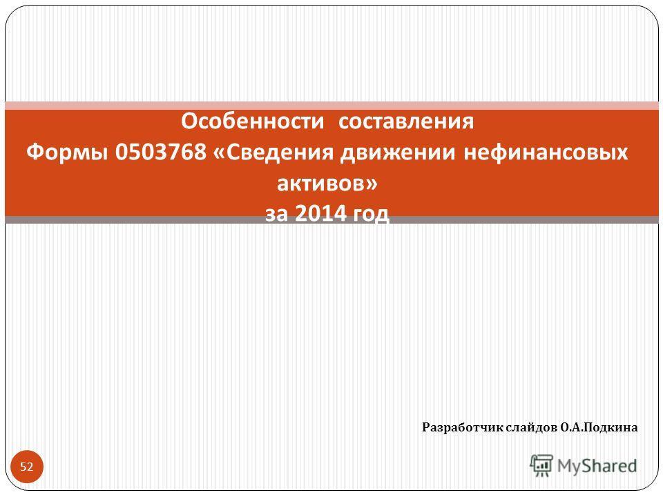 Разработчик слайдов О. А. Подкина 52 Особенности составления Формы 0503768 « Сведения движении нефинансовых активов » за 2014 год