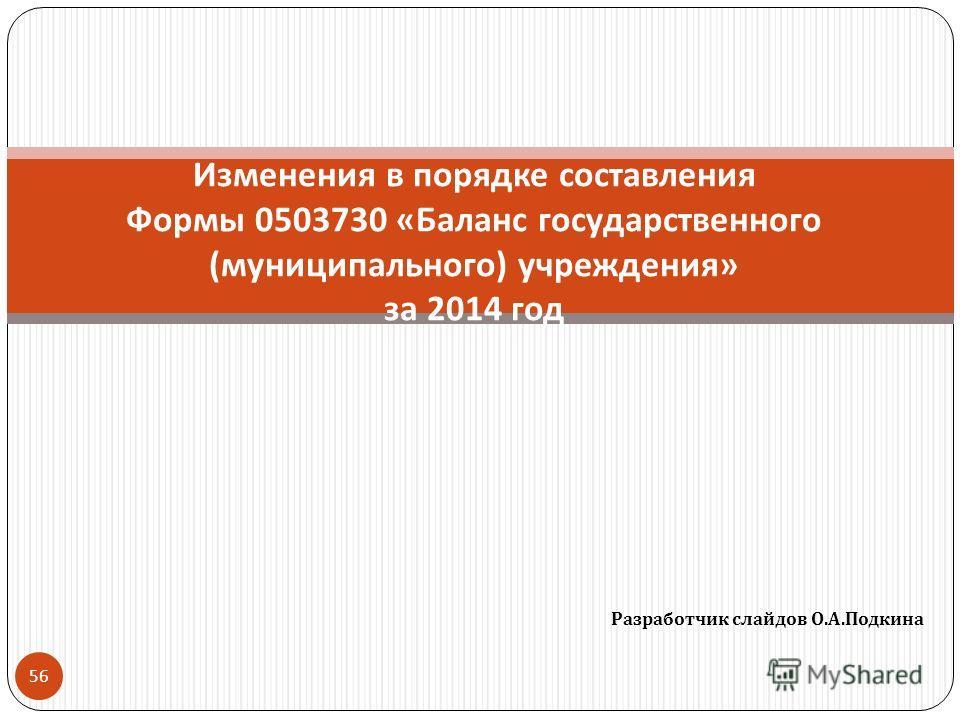 Разработчик слайдов О. А. Подкина 56 Изменения в порядке составления Формы 0503730 « Баланс государственного ( муниципального ) учреждения » за 2014 год