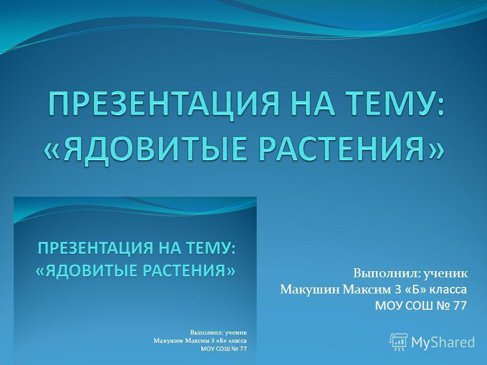 Выполнил: ученик Макушин Максим 3 «Б» класса МОУ СОШ 77