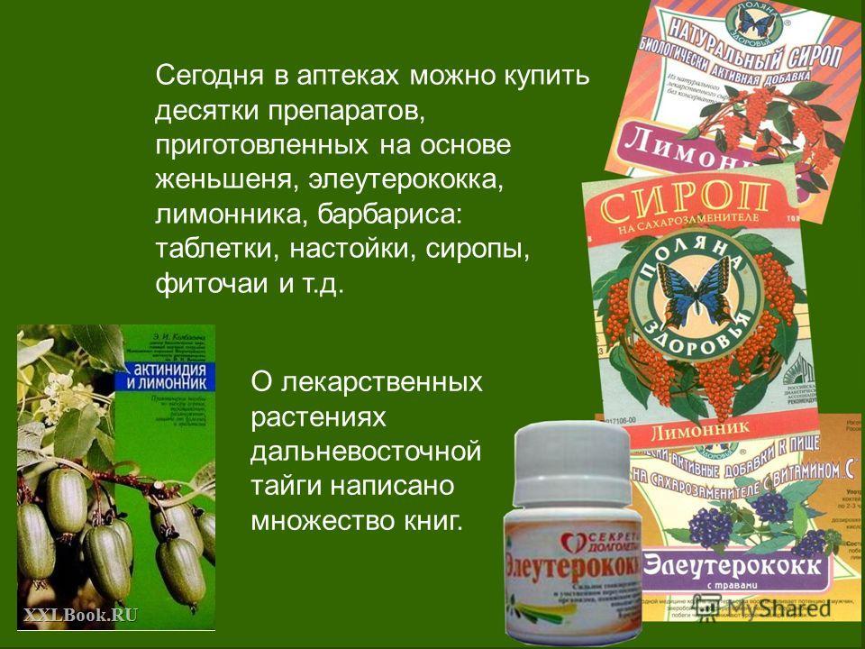 Сегодня в аптеках можно купить десятки препаратов, приготовленных на основе женьшеня, элеутерококка, лимонника, барбариса: таблетки, настойки, сиропы, фиточаи и т.д. О лекарственных растениях дальневосточной тайги написано множество книг.