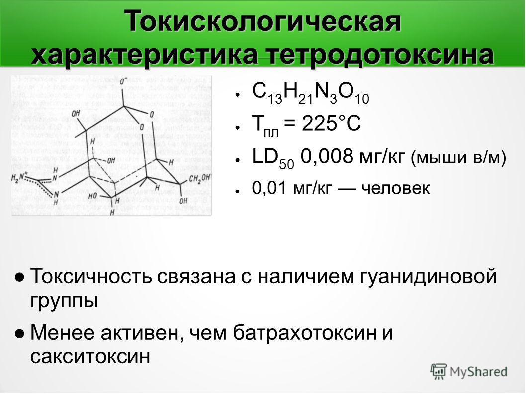 Токискологическая характеристика тетродотоксина С 13 Н 21 N 3 O 10 Т пл = 225°С LD 50 0,008 мг/кг (мыши в/м) 0,01 мг/кг человек Токсичность связана с наличием гуанидиновой группы Менее активен, чем батрахотоксин и сакситоксин
