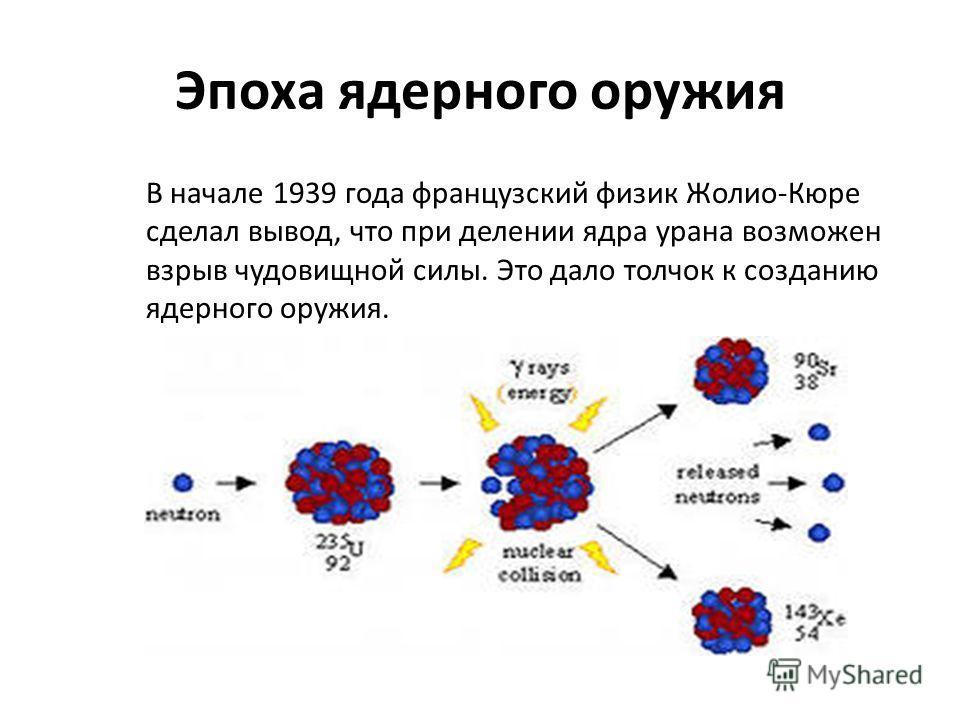 Эпоха ядерного оружия В начале 1939 года французский физик Жолио-Кюре сделал вывод, что при делении ядра урана возможен взрыв чудовищной силы. Это дало толчок к созданию ядерного оружия.